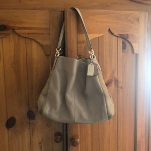 Taupe leather and suede COACH satchel bag